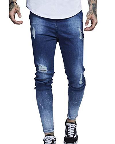 Ragazzo lannister Jeans Distrutte Strappate Pantaloni Hellblau Di Tasche Da Skinny Uomo Qk Attillati SdYqAYT