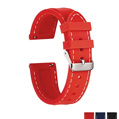 Sentai Silicone Watch Bands - Quick Release Straps - Choose Color & Width - 16mm, 18mm, 20mm or 22mm - Soft Rubber ()