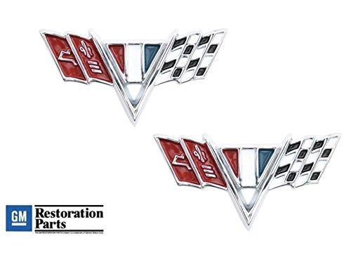Chevrolet Fender Emblem (1964-67 Chevrolet Chrome Die Cast Front Fender Trim Emblem Chevy Flags Pair)