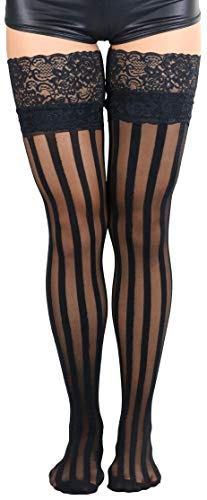ToBeInStyle Women's Lace Top Stockings with Vertical Stripe - Black - OS by ToBeInStyle (Image #3)