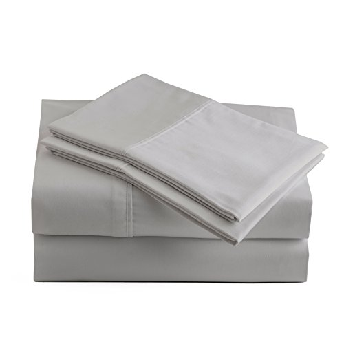 (Peru Pima - 285 Thread Count - 100% Peruvian Pima Cotton - Percale - Bed Sheet Set (Queen, Ash Grey))
