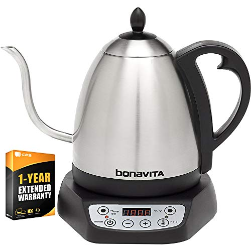 (Bonavita 1.0L Digital Variable Temperature Gooseneck Kettle (BV382510V) with 1 Year Extended Warranty )