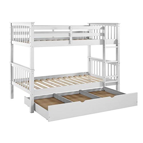 - WE Furniture Solid Wood only Trundle, Twin, White