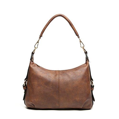 Shoulder Purse Women PU Leather Hobo Handbag Top Handle Bag Crossbody Casual Brown + Katloo Nail Clipper by Katloo