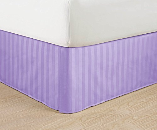 "Luxurious Egyptian Quality Weave STRIPE Bed Skirt - Pleated Tailored 14"" Drop - All Sizes and Colors , Full, Lilac"