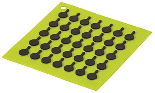 Lodge AS7S51 Silicone Square Trivet with Black Logo Skillets, Green