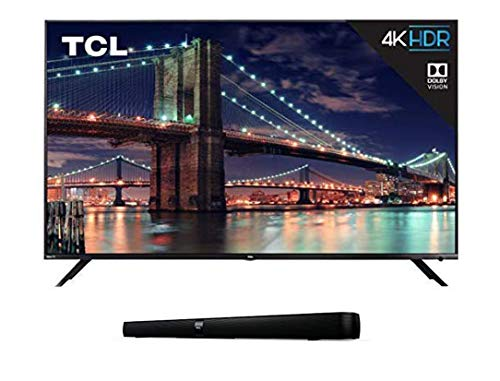 TCL 75R617 75-Inch 4K Ultra HD Roku Smart LED TV (2019 Model) with 7 2.0 Channel Home Theater Sound Bar with Built-in Subwoofer - TS7000, 36