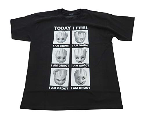 Marvel Guardians of The Galaxy Groot Feelings Today I Feel Adult T-Shirt Tee (Black, Large)