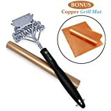 Home Superstore Bristle Free BBQ Grill Brush with Scraper 100% Rust Resistant Barbecue Cleaner Includes Heat Resistant Copper Non-Stick Grill Mat
