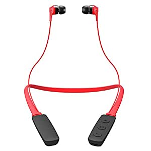 Ikos Bluetooth Neckband Headphones, Sweatproof Lightweight Wireless Earphones, BT Foldable Stereo Noise Cancelling Headset with MIC Car Handsfree, Sports Running Workout Fitness Outdoor Earbuds