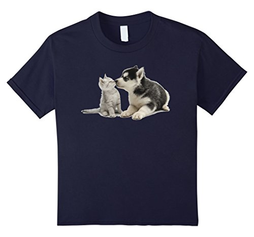 Kids Siberian Husky Kissing Kitten T-Shirt 8 Navy
