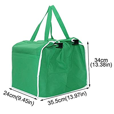 i-Auto Time Supermarket Shopping Bags Foldable Reusable Grocery Large Trolley Clip-To-Cart Multifunctional Non-woven Environment-friendly Bags Green Bag Two Loaded