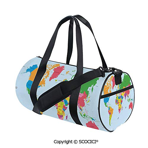 Crossbody Bags for Women Men,Classical Colorful Map of World in Political Style Travel Europe America Asia Africa DecorativeEasy to Carry,(17.6 x 9 x 9 in) Multicolor