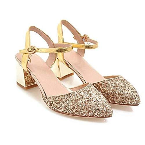 Black Gold Chunky Black QOIQNLSN Heel Shoes Spring Women'S Silver Comfort Canvas Heels wzq8Yaw