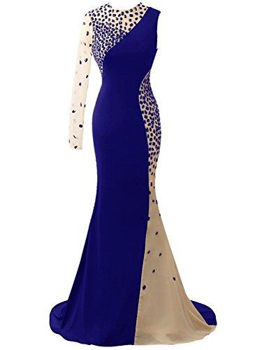 Fiesta HUINI Sirena Cristal Un gala Largo Escarpado Noche Trajes de Azul hombro Real Vestidos f8vqxFTfwr