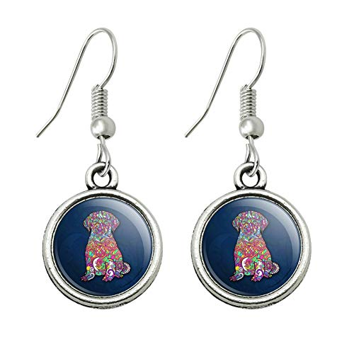 GRAPHICS & MORE Mosaic Lab Labrador Puppy Dog Novelty Dangling Drop Charm Earrings ()