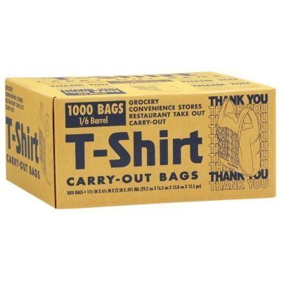 Amazon.com: T-Shirt Carry-Out Bags - 1000 Bags - 1/6 Barrel 11 1/2 ...