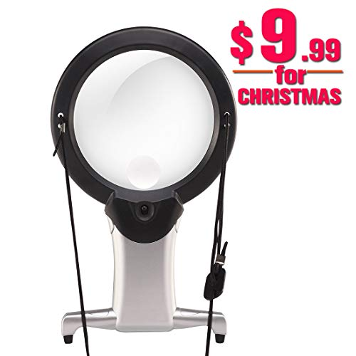 Hands Free Lighted Reading Magnifier, Dicfeos Extra Large Neck Wear Quality Magnifying Glass with...