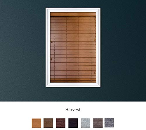 Luxr Blinds Custom Made Premium Faux Wood Horizontal Blinds W/Easy Inside Mount & Outside Mount Wood Blind – Size: 51X36 Inch & Wooden Color: Harvest