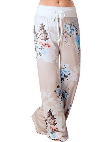 iChunhua Women's Pajama Comfy Floral Print Lounge Drawstring Palazzo Long Wide Leg Pants 2XL Grey #5