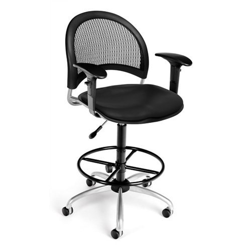 (OFM 336-V-AA3DK-606 Moon Swivel Vinyl Chair with Arms and Drafting Kit, Black)