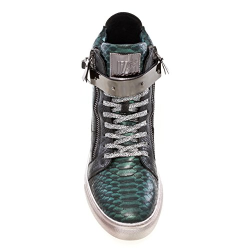 Men's Jump Leather J75 Up Zeus Toe High Viper Lace by Sneaker Top Round Green RRWEqw6a