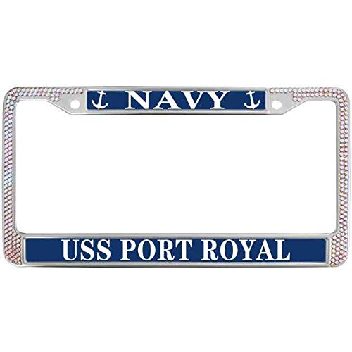 (USA Navy License Plate Tag Frame Fits Standard US Shiny Rhinestone Crystal Chrome Plate Frame License Plate Frame License Plate Tag Frame Cover USS Port Royal Navy)