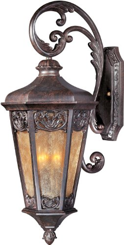 Maxim 40174NSCU Lexington VX 3-Light Outdoor Wall Lantern, Colonial Umber Finish, Night Shade Glass, CA Incandescent Incandescent Bulb , 40W Max., Dry Safety Rating, Standard Dimmable, Fabric Shade Material, Rated Lumens Colonial Umber Finish Chandeliers