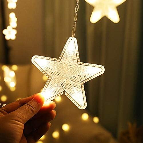 Stern Vorhang Lichter , Weihnachten Garland String Lichterkette , Outdoor für Urlaub Hochzeitsfeier Neujahr Dekor , Innenbeleuchtung Dekoration Licht , warmes Wei? , 2,5 m