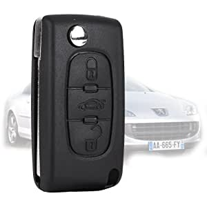 Amazon.com: 3 Button Remote Flip Key Fob Shell Case & Uncut ...