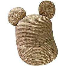 HomArt Kids Straw Peaked Cap Mickey Ear Breathable Sun Protection Visor Hat
