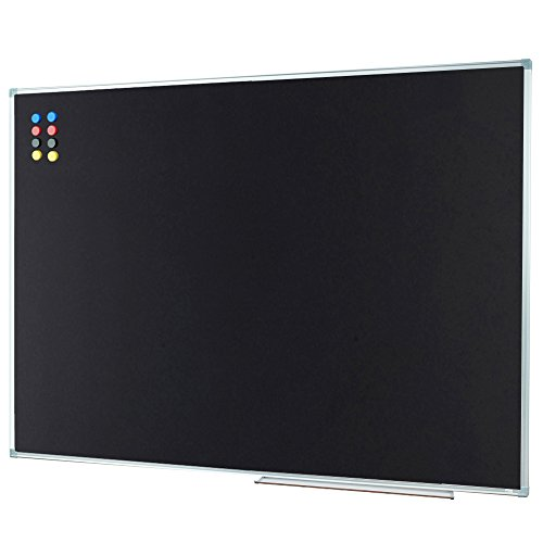 Porcelain Black Chalkboard - Lockways Magnetic Chalk Board Blackboard - Bulletin Black Board 48 X 36, Silver Aluminium Frame, Detachable Aluminum Pentray & 8 Magnets (4 X 3, Silver), for Home, School & Office