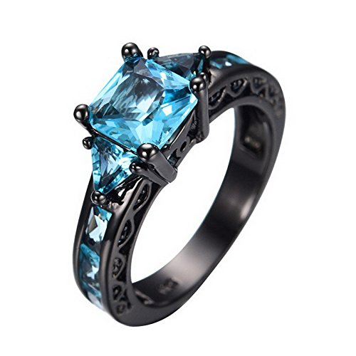 Halo 4 Marine Costume (SKCUTE Classical Jewelry Princess Cut Aquamarine Ring Black Gold Filled CZ Engagement Rings 9.0)