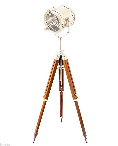 "THORINSTRUMENTS Hollywood Antique Marine Nautical Spotlight Floor Lamp Wooden Tripod - Vintage Design Spot Light Lamp Brown Tripod Floor Stand Home Decor Material: Wood/Aluminum & Steel Lamp Front: 8"" Depth: 8"" Height: 60"" - living-room-decor, living-room, floor-lamps - 41AurWlDc6L -"