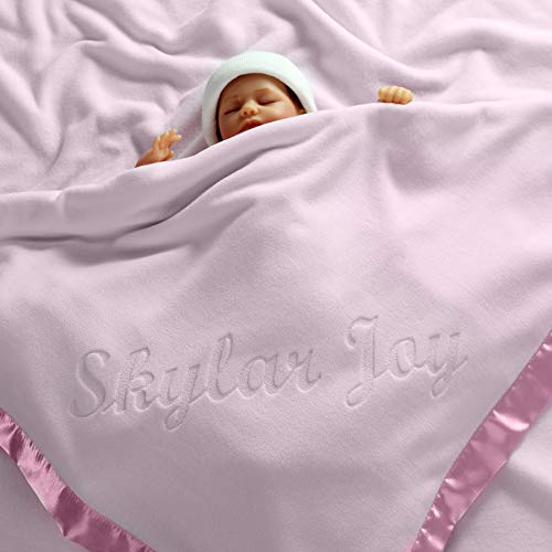 Large Personalized Baby Blanket (Pink) - 36x36 Inch, Satin Trim, Fleece