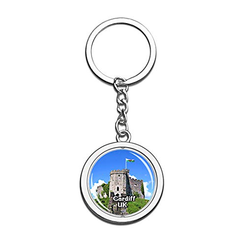 Cardiff Castle UK England Keychain 3D Crystal Creative Spinning Round Stainless Steel Keychain Travel City Souvenir Collection Key Chain Ring