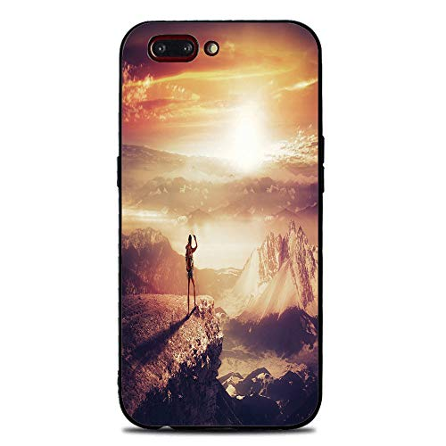 Phone Case Compatible with iphone7 Plus iphone8 Plus Brandnew Tempered Glass Backplane,Adventure,Traveler Woman with Backpack on Mountain Surveying Sunset Adventure Photo Print,Multicolor,Anti-shock a ()