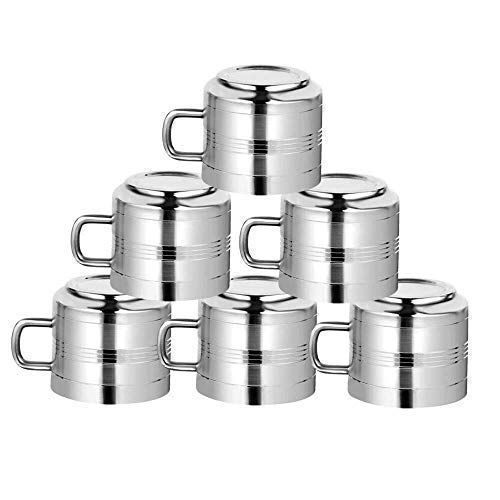 (WhopperOnline Set of 6 Double Wall Stainless Steel Tea & Coffee Cups, Drinking Cups for Kids, Reusable, Mirror Finish & Dishwasher Safe - Silver)