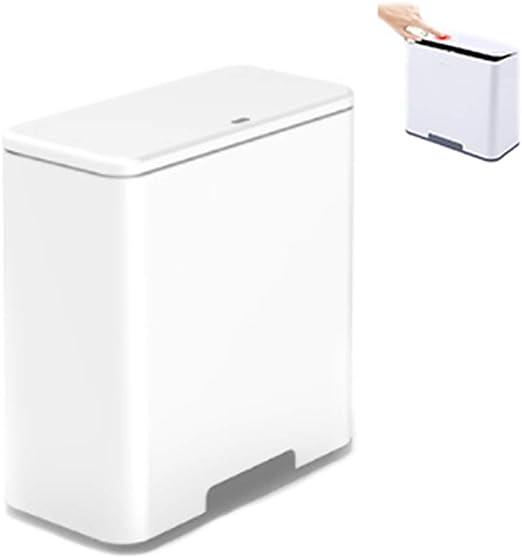 ZTGL Cubo Basura Cubo De Basura Cocina Caja De Almacenamiento con Bolsa De Basura, Tipo De Prensa, Cubo Basura Reciclaje 2 Compartimentos Grande para Baño De Cocina Oficina,Blanco: Amazon.es: Hogar