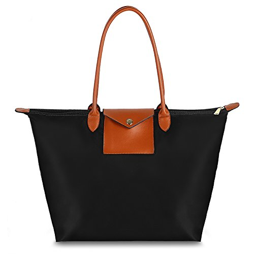 Women's Leather Top Handle Bag Handbag Tote Hobo Shoulder Bag Travel Hiking Weekender Foldable Waterproof with Wrist Purse Black & Brown by Gywon (Image #7)