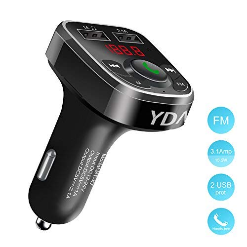 FM Transmitter,Wireless Bluetooth FM Transmitter Receiver Radio Adapter Car Kit with Handsfree Calling,Support Car Voltage Detection,MP3 Player,TF Card,Dual USB Car Charger for Samsung,iPhone,etc.