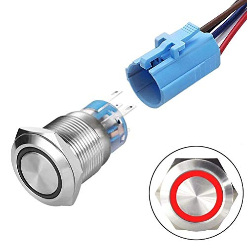 Mm 24v Led 16 (Ineedtech 16mm Momentary Push Button Switch 1NO 1NC 24VDC Ring LED Angel Eye Head for 5/8
