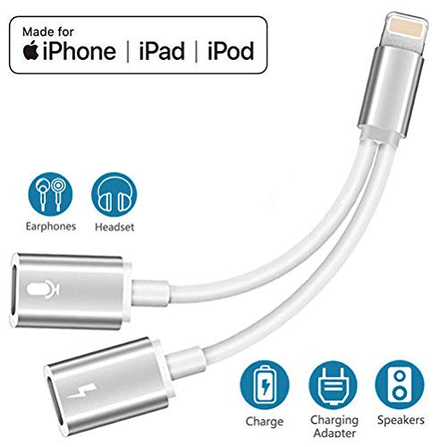 - Headphone Adapter for iPhone X Adapter Audio Jack Charger Adapter for iPhone 7/7Plus/8/8Plus/X/XR/XS max 2 in 1 Earphone Audio Connector Jack Splitter Cable Accessories Support All iOS Systems