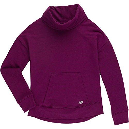 New Balance Big Girls' Long Sleeve Pullover Top, Mulberry/Black Cross Dye, ()