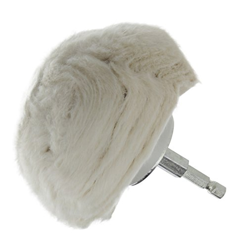 "Drixet Extra Thick Large Cotton 4"" Buffing Ball w/1/4 Hex Shank for Turning Power Drill into High-Speed Polisher"