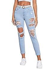 SweatyRocks Women's Hight Waisted Stretch Ripped Skinny Jeans Distressed Denim Pants