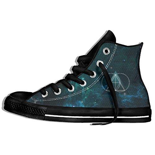 Classiche Sneakers Alte Scarpe Di Tela Antiscivolo Modello Astratto Casual Da Passeggio Per Uomo Donna Nero