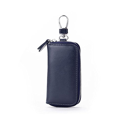 Bag Case Keychain (Unisex Mens Womens Premium Leather Car Key Holder Bag Keychain Case Wallet with 6 Hooks Zipper Closure, Royal Blue)