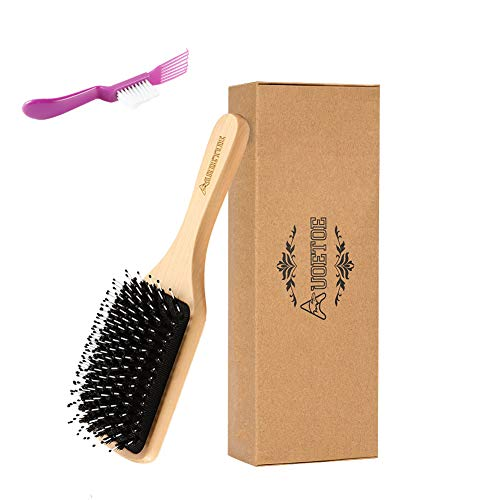(Hairbrush Boar Bristle Hair Brush-Hair Brushes for Women Mens Kids girls Best Natural Wooden Paddle Hair Brush for Thick fine Curly Straight Dry and Damaged Hair-Avoid Tangles,by Auoetoe (wooden))
