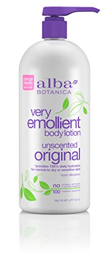 Alba Body Very Lotion Lotion Botanica Emollient Moisturizing (Alba Botanica Very Emollient Unscented Original Body Lotion, 32 oz.)